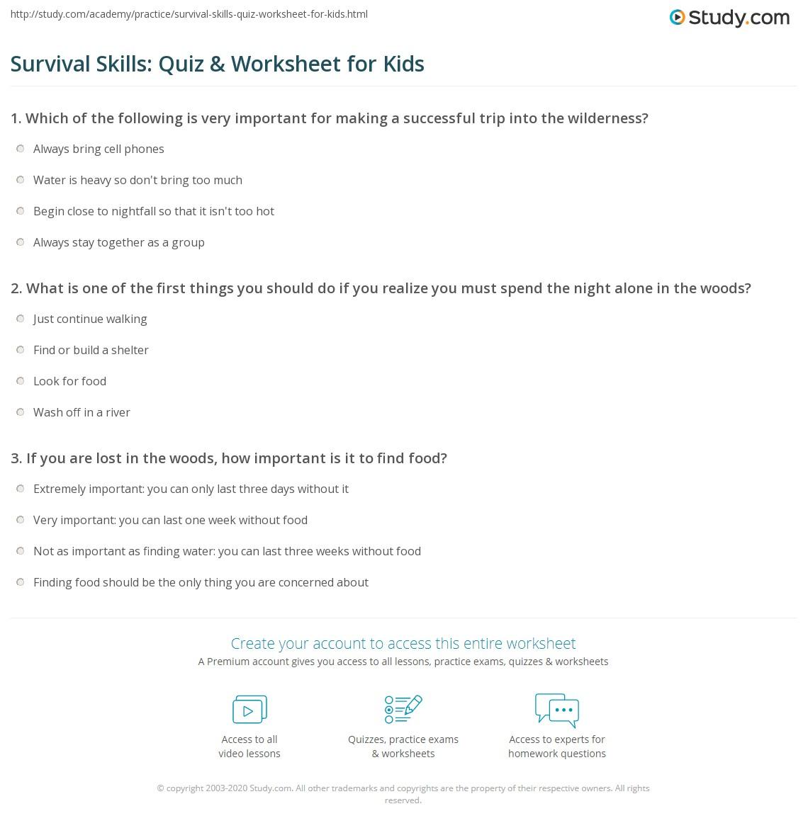 Survival Skills: Quiz & Worksheet for Kids | Study com