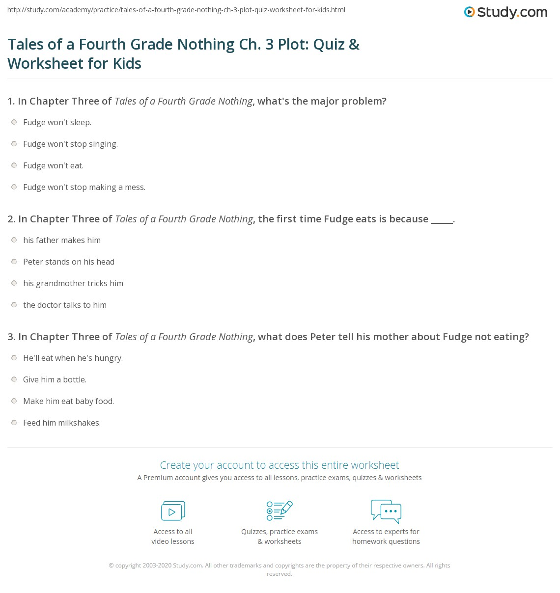 Tales of a Fourth Grade Nothing Ch. 3 Plot: Quiz & Worksheet for ...