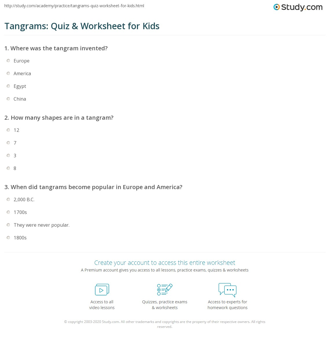 Worksheets Tangram Worksheets tangrams quiz worksheet for kids study com print lesson worksheet
