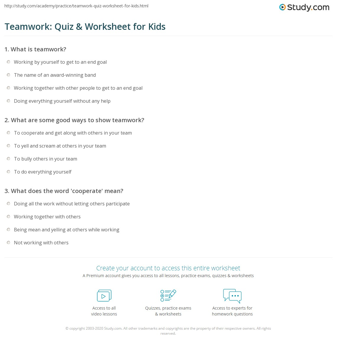 Teamwork: Quiz & Worksheet for Kids | Study.com