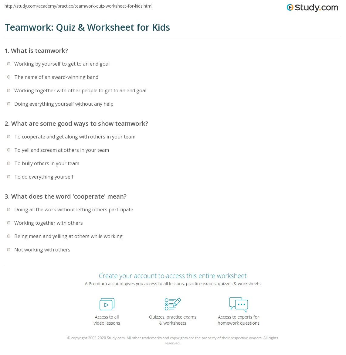 Teamwork quiz worksheet for kids - Quiz cuisine francaise ...