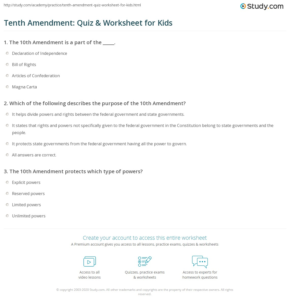 Tenth Amendment Quiz Worksheet For Kids Study Com
