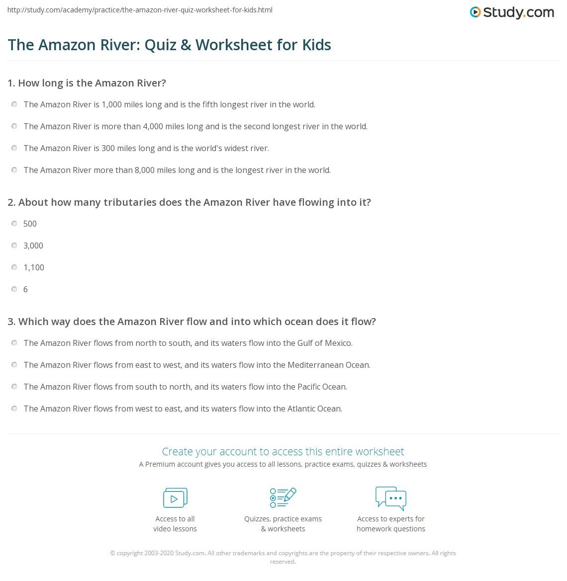 The Amazon River Quiz Worksheet For Kids Studycom - River quiz