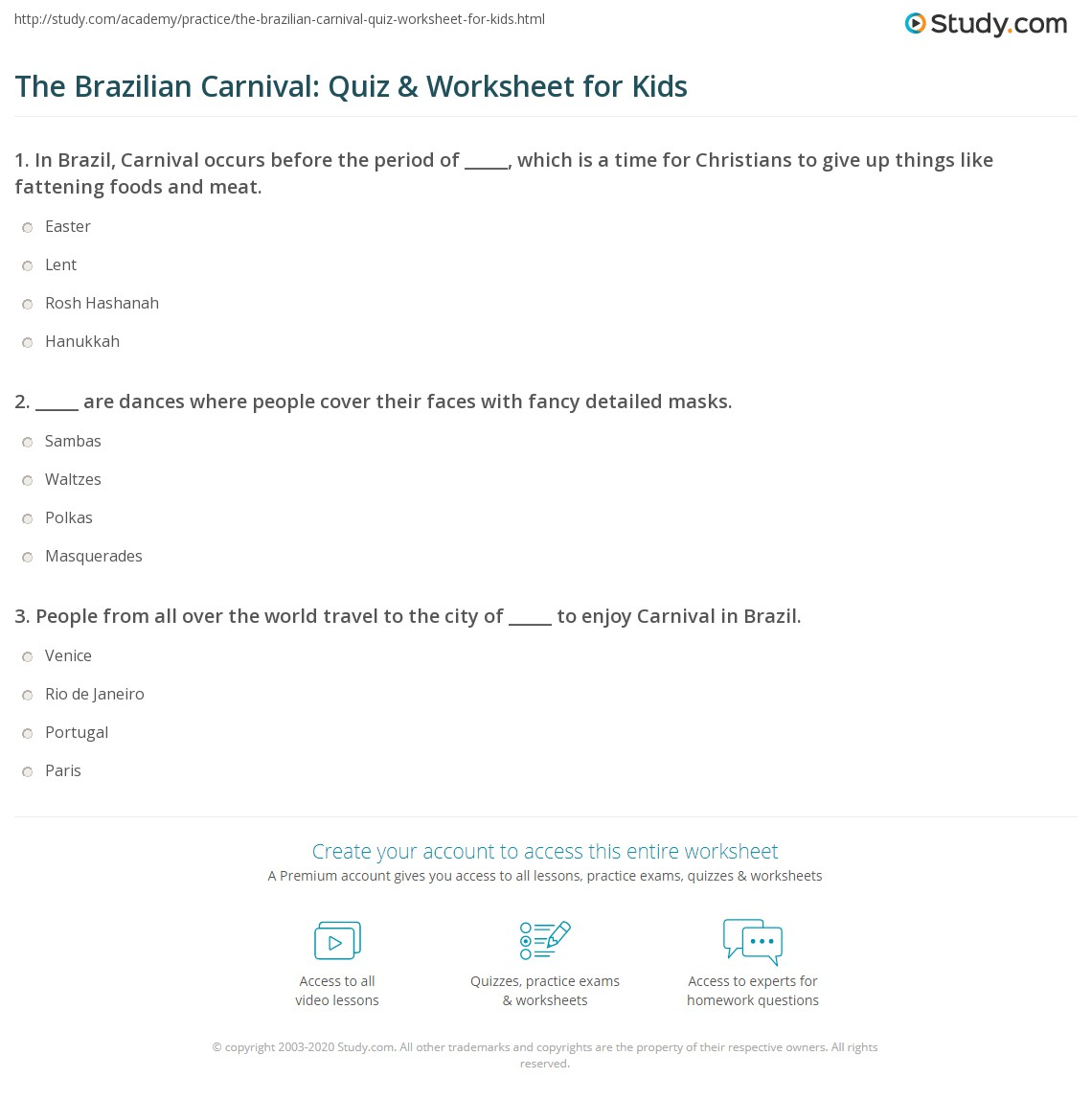 The Brazilian Carnival: Quiz & Worksheet for Kids | Study.com