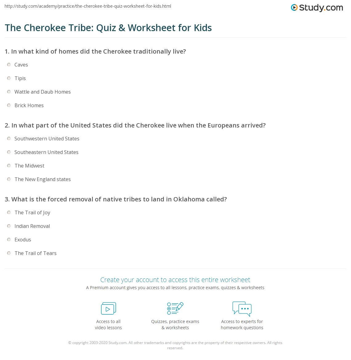 the cherokee tribe quiz u0026 worksheet for kids study com