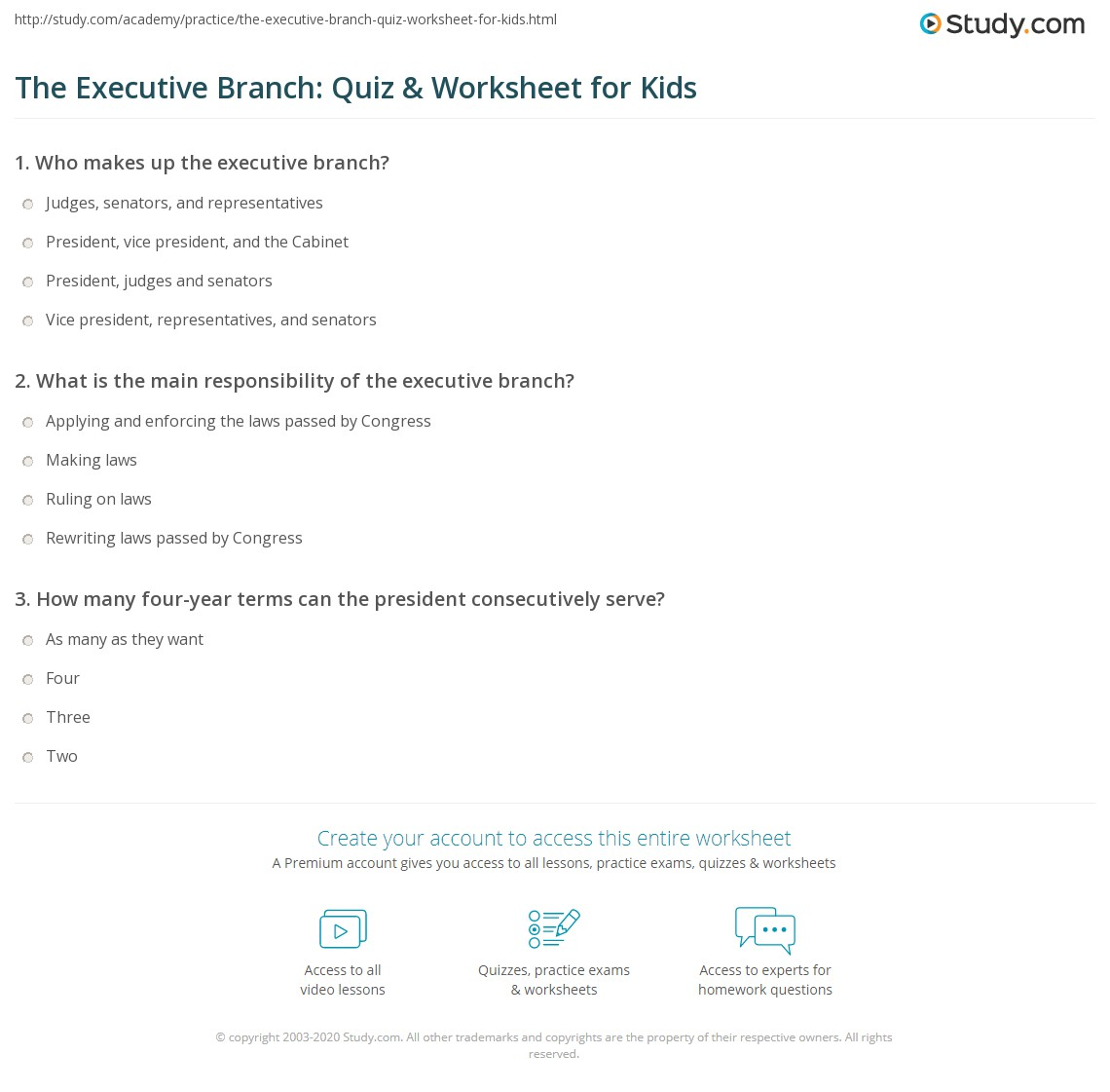 The Executive Branch Quiz Amp Worksheet For Kids Study Com
