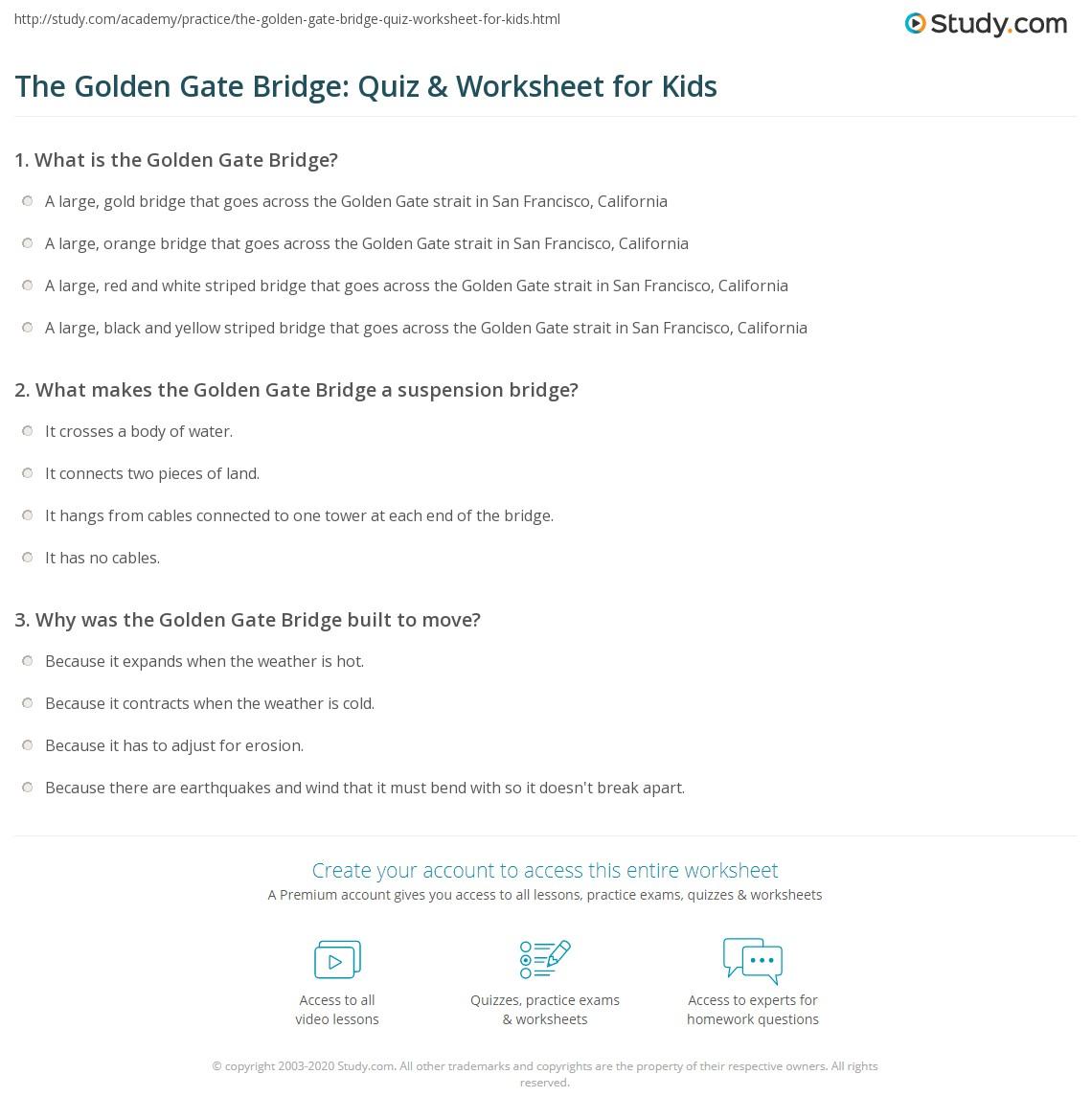 Printable coloring pages golden gate bridge - Print Golden Gate Bridge Facts Lesson For Kids Worksheet