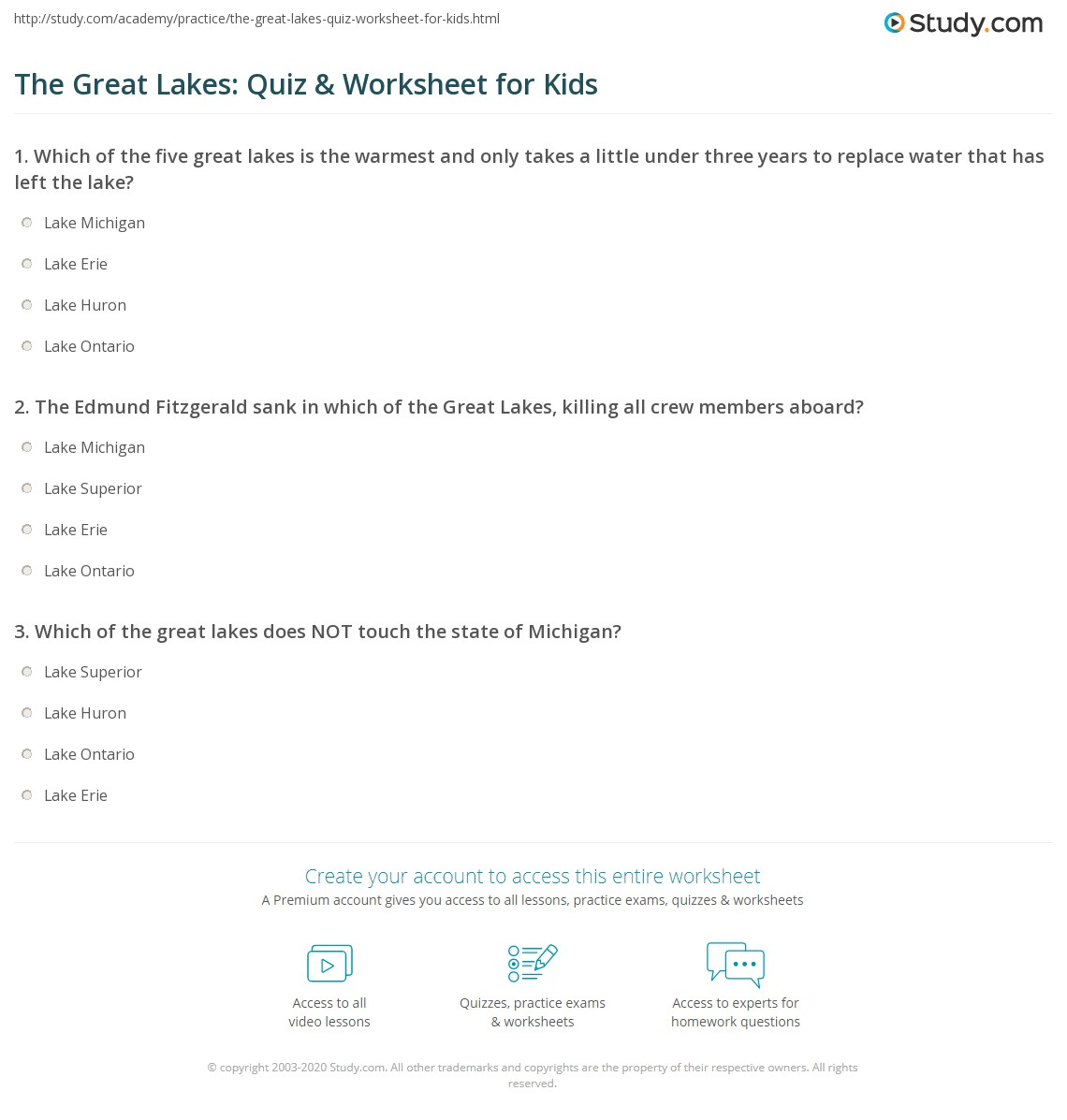 The Great Lakes: Quiz & Worksheet for Kids   Study.com