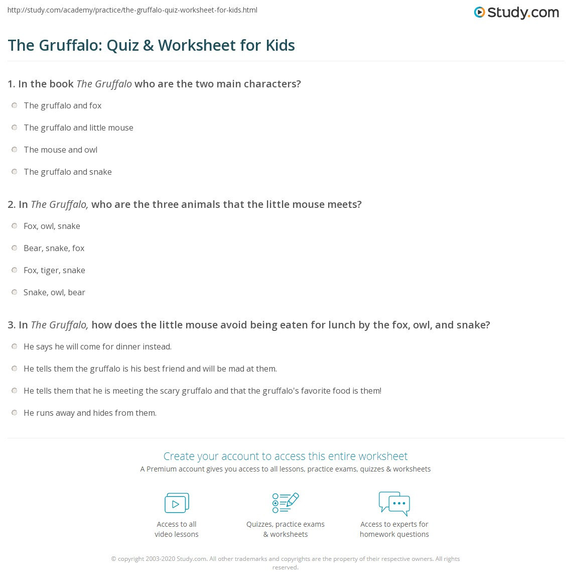 English Worksheets Comprehension Worksheet The Gruffalo