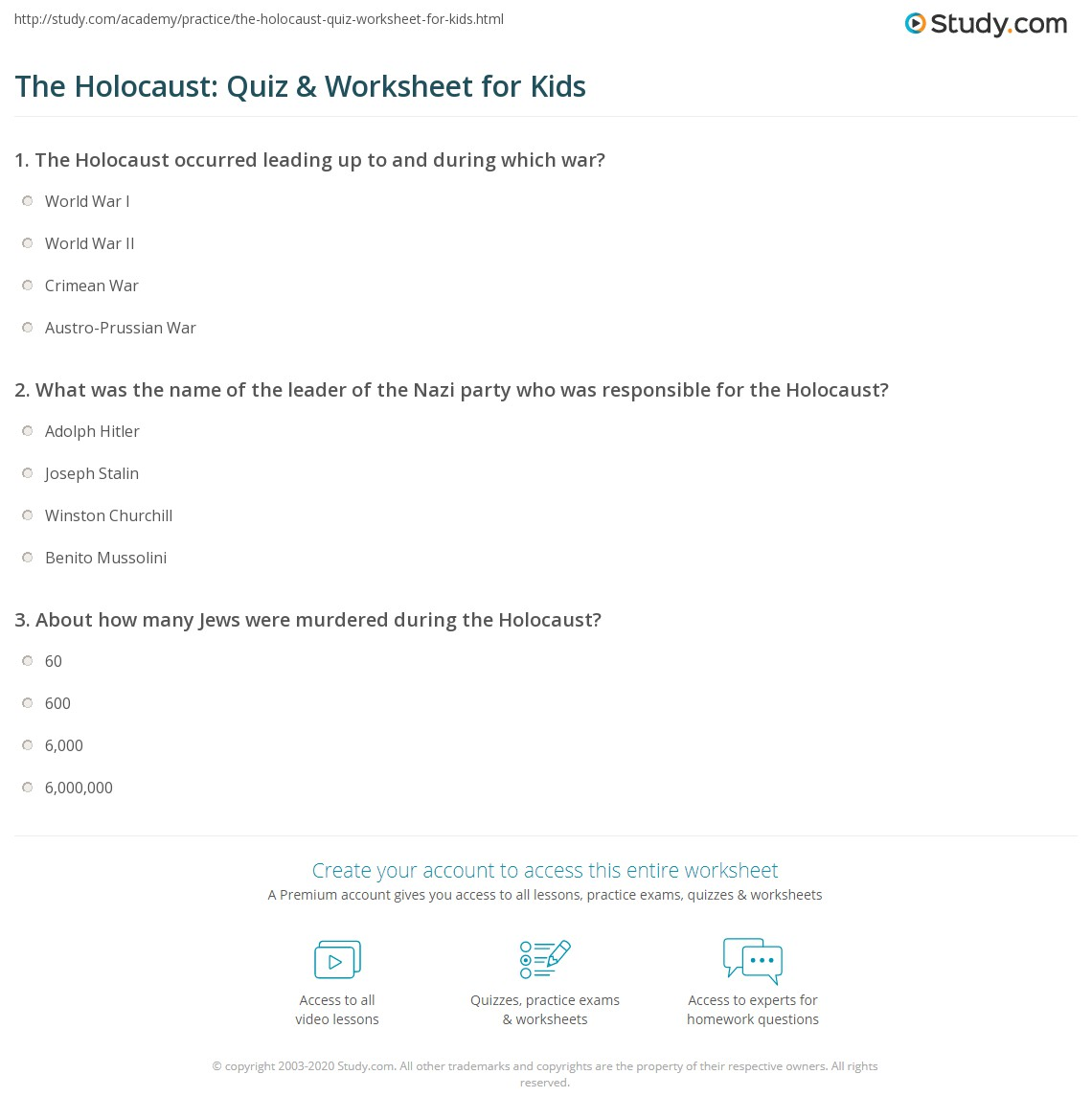 worksheet Holocaust Worksheet the holocaust quiz worksheet for kids study com print lesson definition facts worksheet
