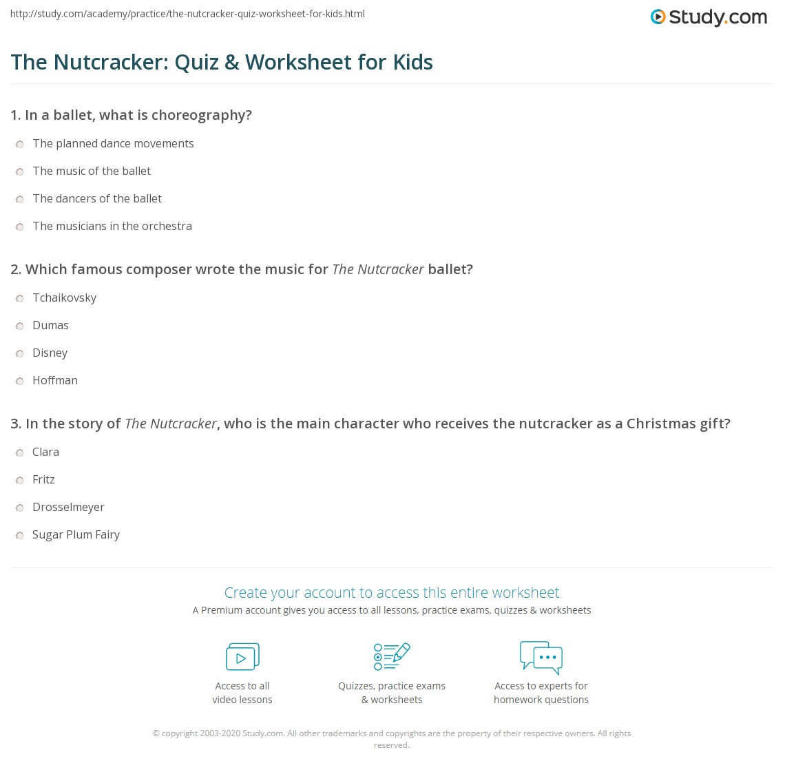 picture about Nutcracker Worksheets Printable named The Nutcracker: Quiz Worksheet for Young children