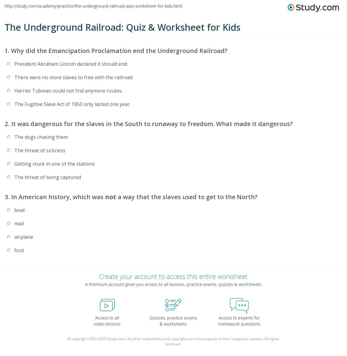 The Underground Railroad Quiz Worksheet for Kids – Underground Railroad Worksheet