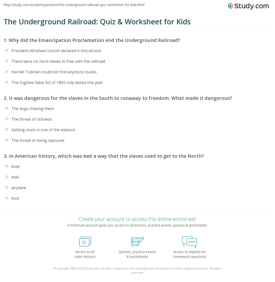 Worksheets Emancipation Proclamation Worksheet the underground railroad quiz worksheet for kids study com print facts lesson worksheet