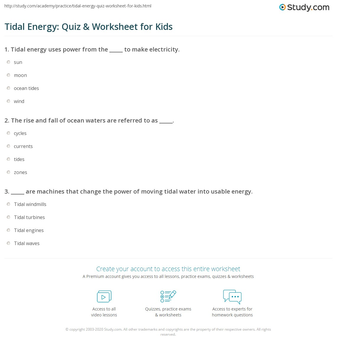 Tidal Energy: Quiz & Worksheet for Kids | Study.com