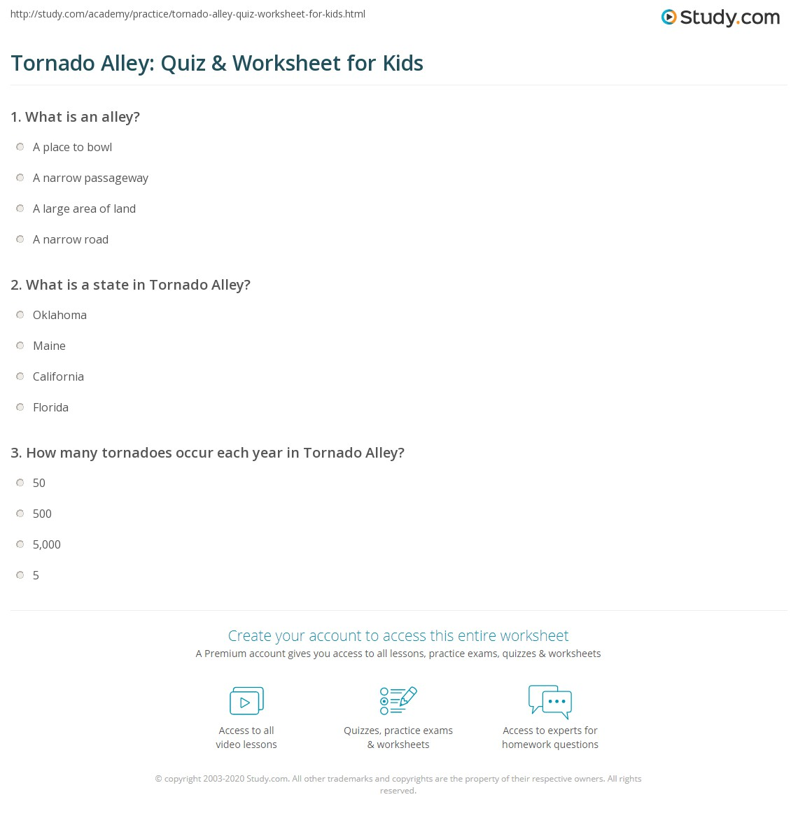 Tornado Alley Quiz & Worksheet for Kids