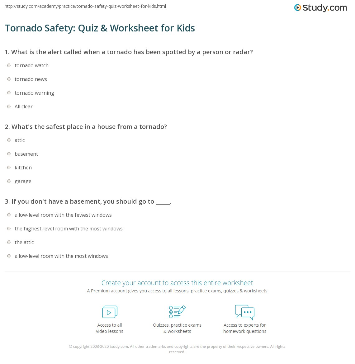 Worksheets Safety Plan Worksheet tornado safety quiz worksheet for kids study com print lesson worksheet