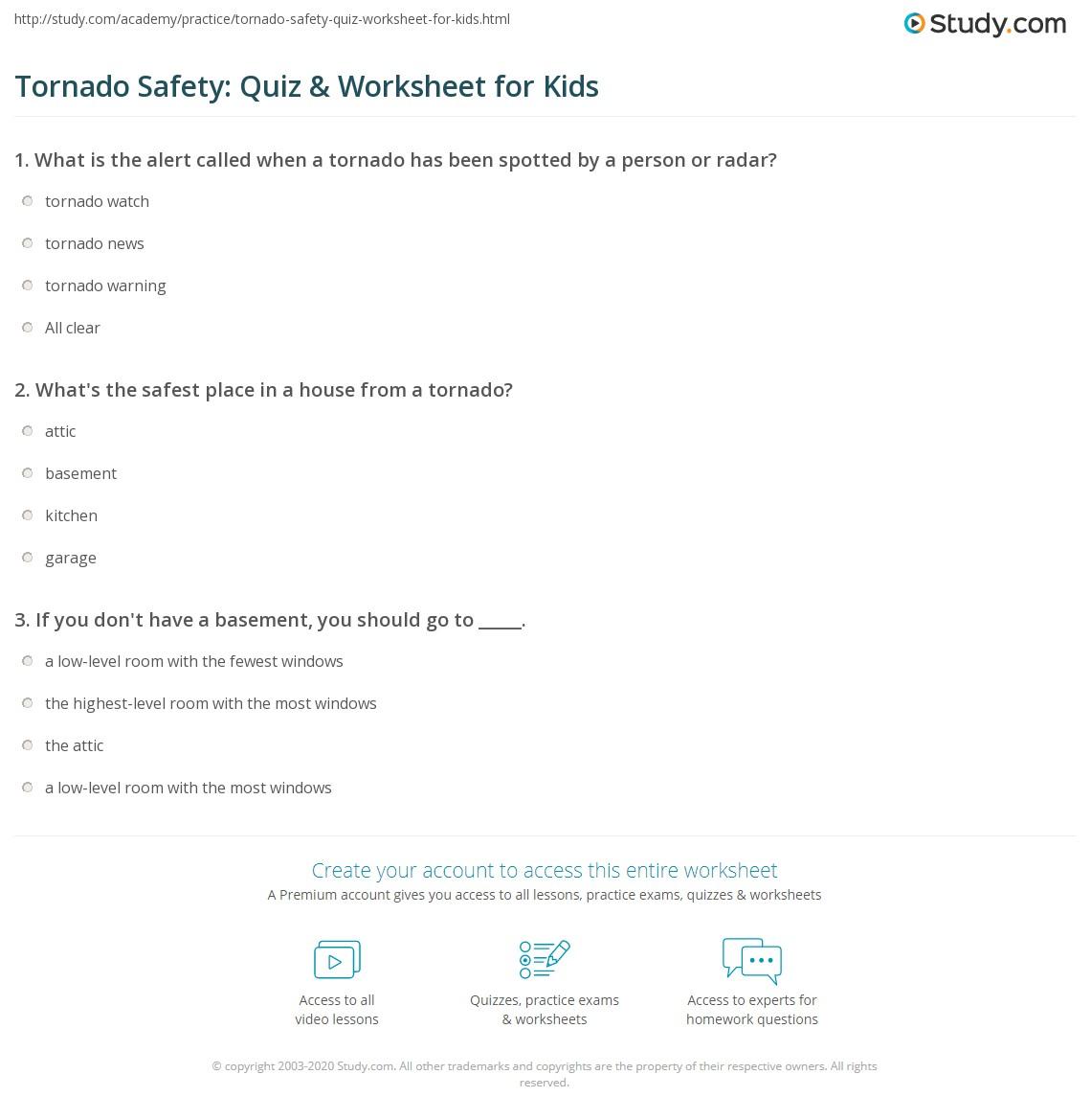 Worksheets Safety Plan Worksheet tornado safety quiz worksheet for kids study com print lesson worksheet
