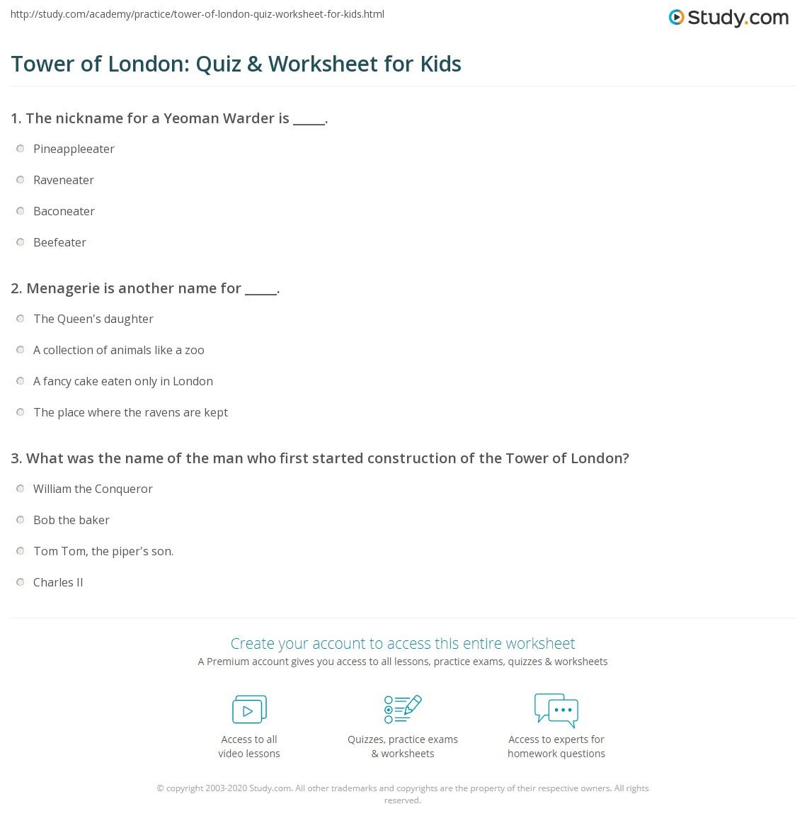 tower of london quiz worksheet for kids. Black Bedroom Furniture Sets. Home Design Ideas
