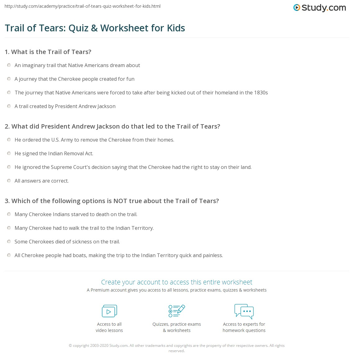 worksheet Trail Of Tears Worksheet trail of tears quiz worksheet for kids study com print the facts lesson worksheet