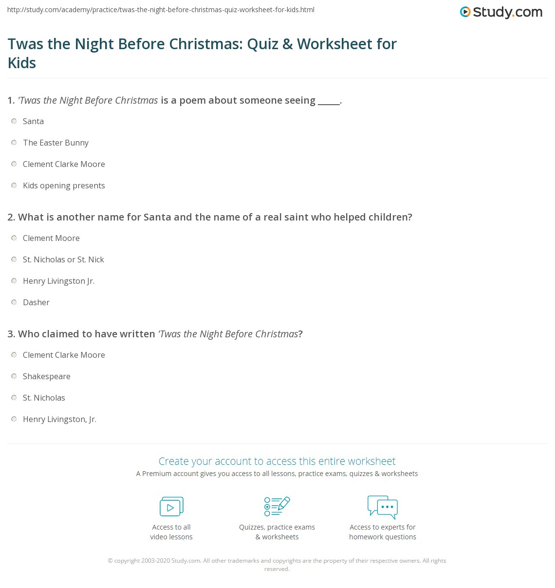 picture relating to Twas the Night Before Christmas Poem Printable named Twas the Evening Right before Xmas: Quiz Worksheet for Youngsters