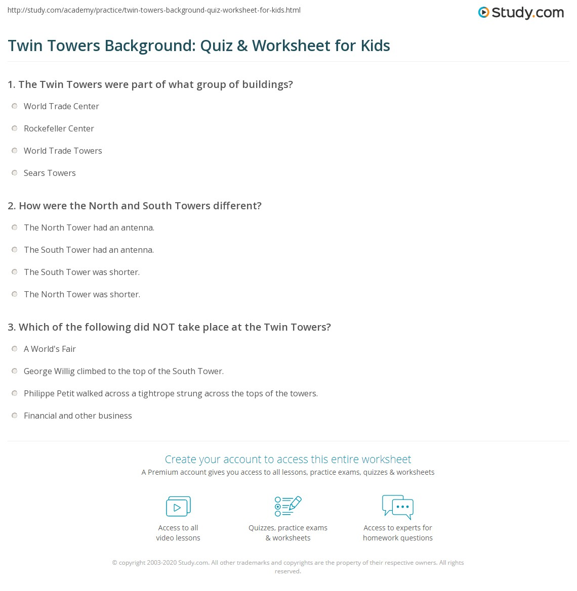 Twin Towers Background: Quiz & Worksheet For Kids