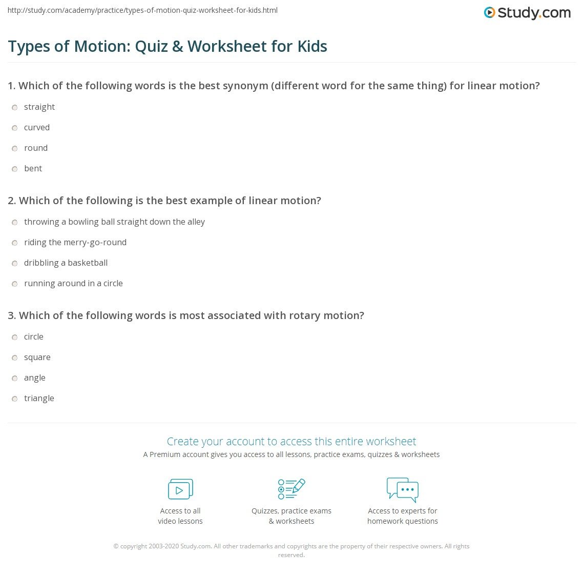 worksheet Motion Worksheets types of motion quiz worksheet for kids study com print lesson worksheet