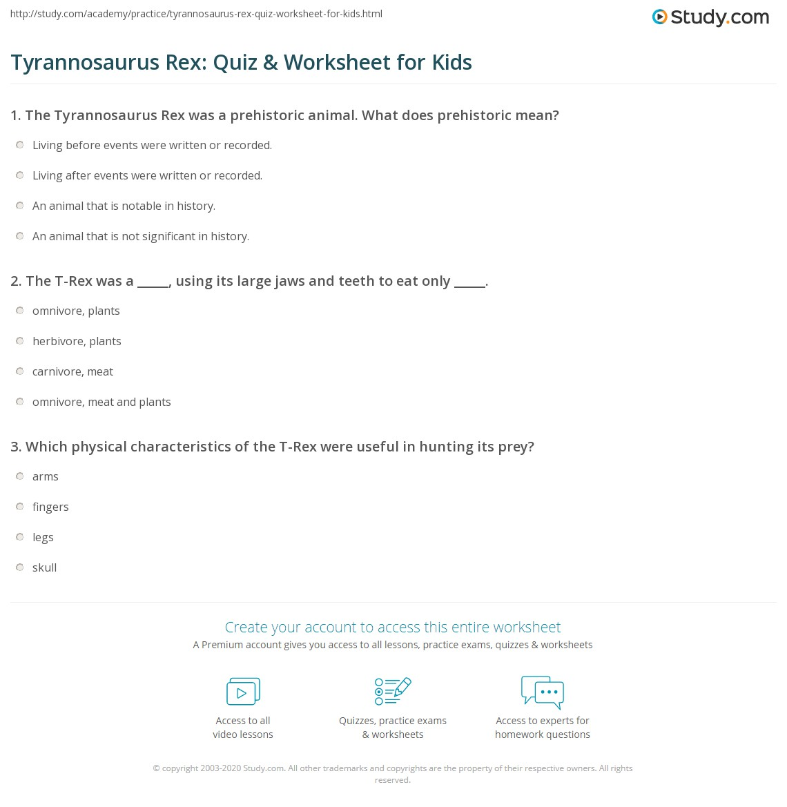 Tyrannosaurus Rex: Quiz & Worksheet for Kids | Study.com