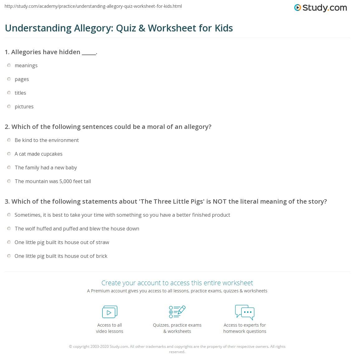 worksheet The Lorax Questions Worksheet understanding allegory quiz worksheet for kids study com print lesson definition examples worksheet