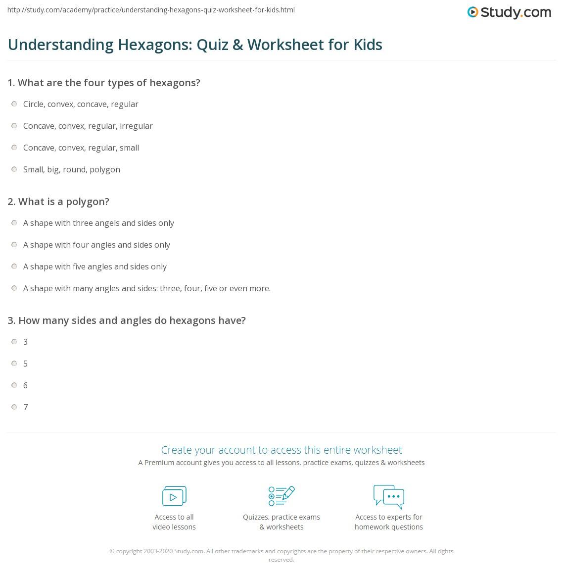 Understanding Hexagons Quiz Worksheet for Kids – Hexagon Worksheet