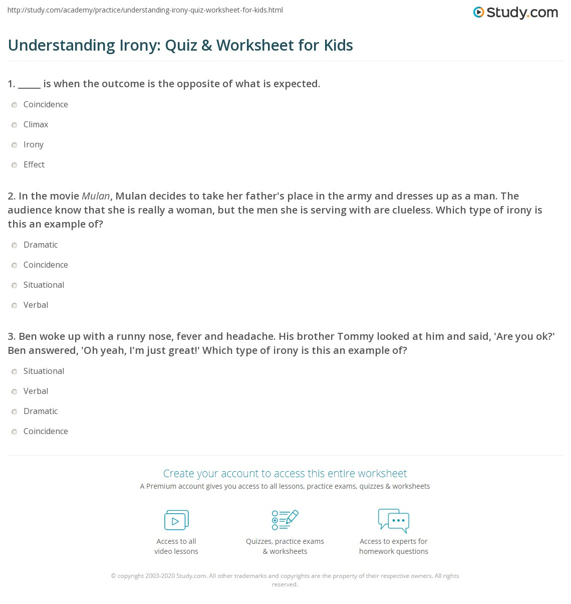 understanding irony quiz worksheet for kids. Black Bedroom Furniture Sets. Home Design Ideas