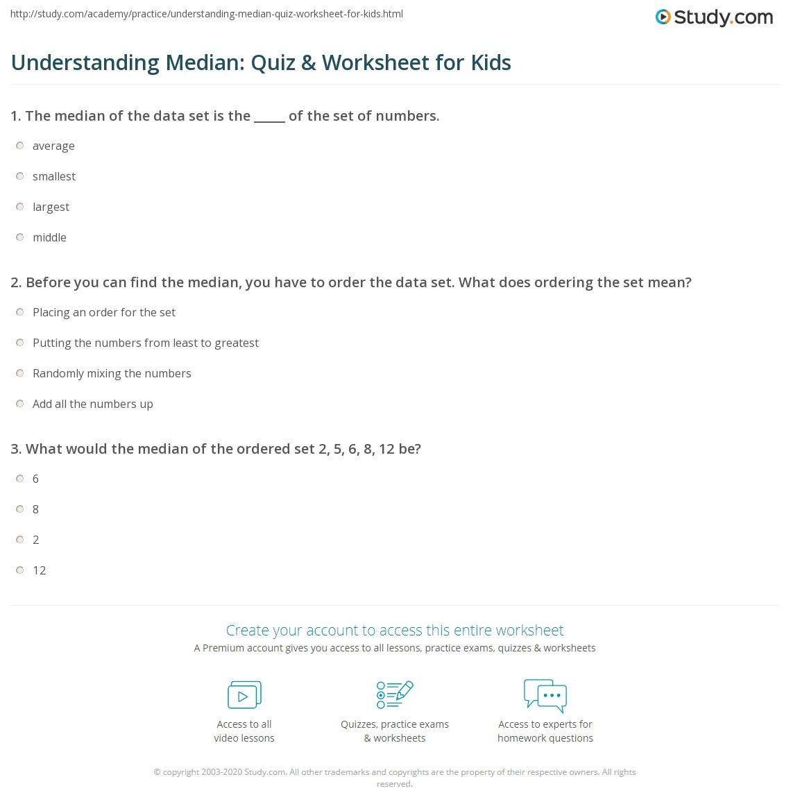 Print Median Definition: Lesson For Kids Worksheet How Do You Find