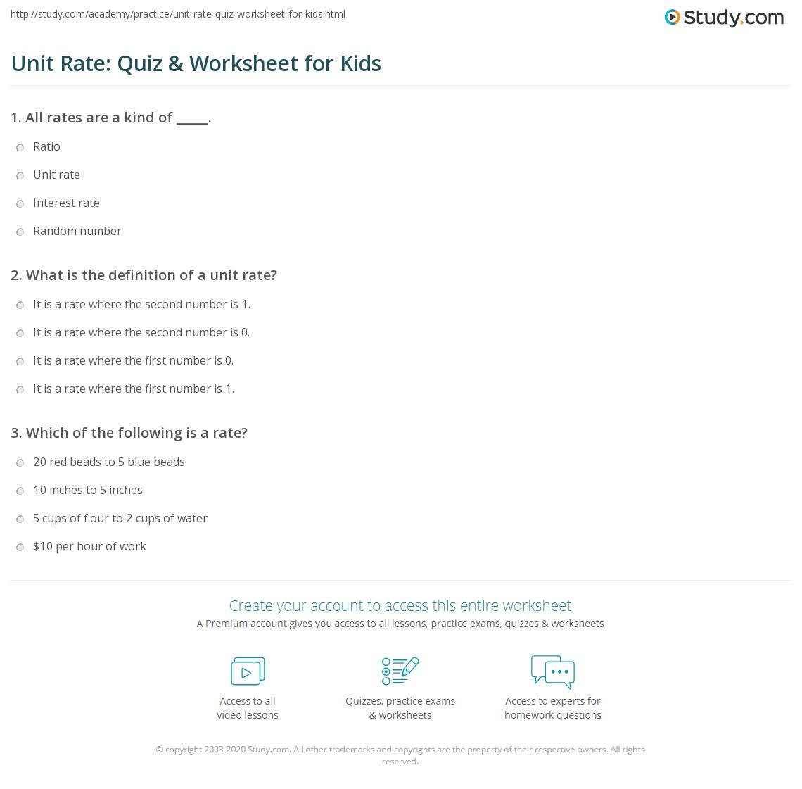 Unit Rate: Quiz & Worksheet for Kids   Study.com