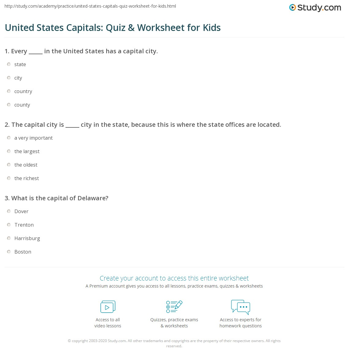 United States Capitals: Quiz & Worksheet for Kids | Study.com on