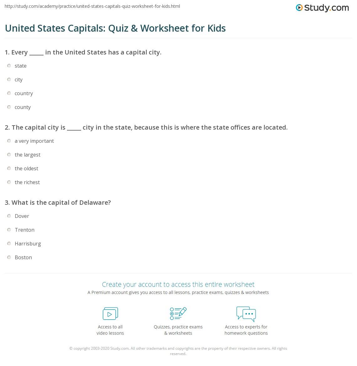 United States Capitals Quiz Worksheet For Kids Study Com