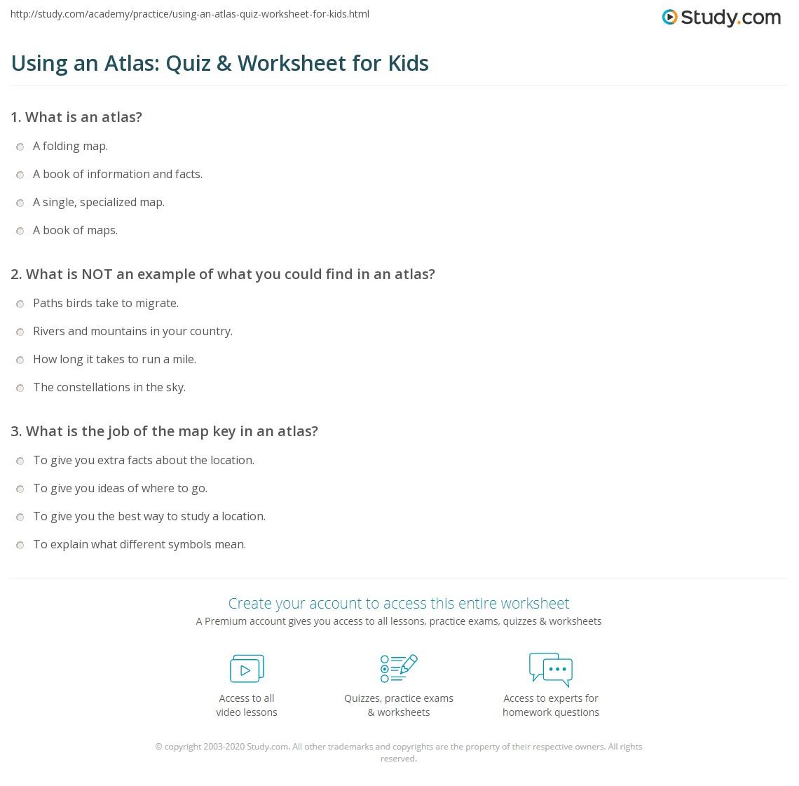 using an atlas quiz worksheet for kids. Black Bedroom Furniture Sets. Home Design Ideas