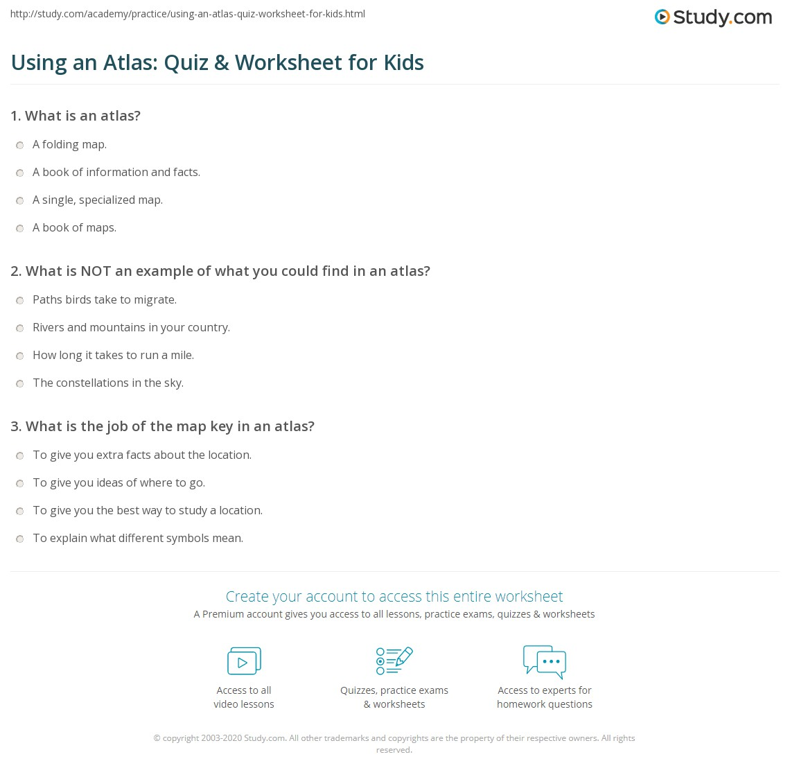 Using An Atlas Quiz Worksheet For Kids Study
