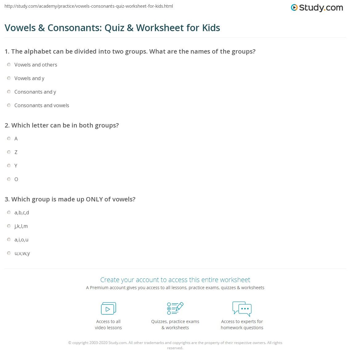 Worksheets Vowels And Consonants Worksheets vowels consonants quiz worksheet for kids study com print lesson worksheet