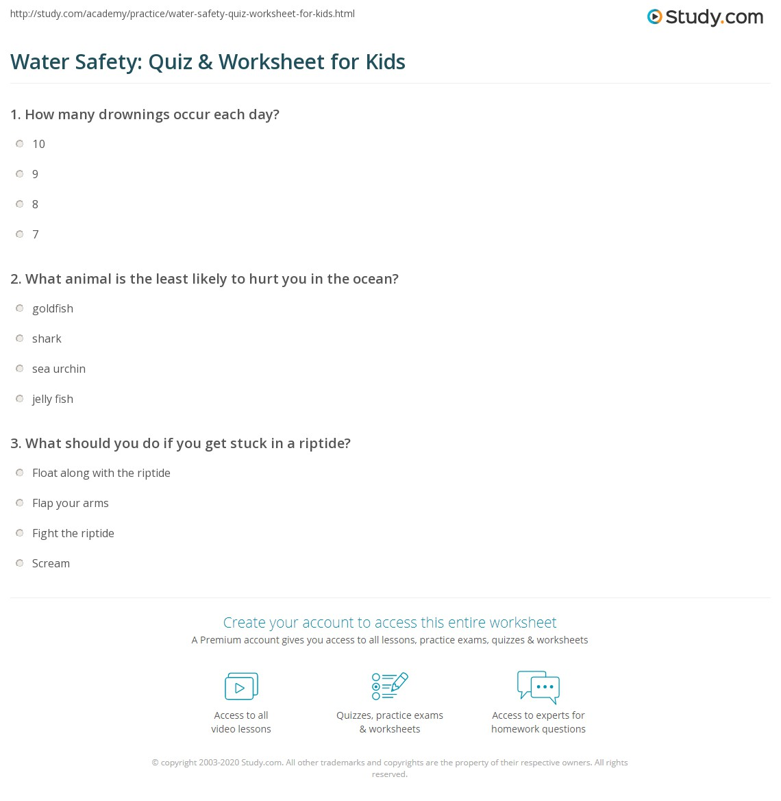 Printables Water Safety Worksheets water safety quiz worksheet for kids study com print lesson worksheet