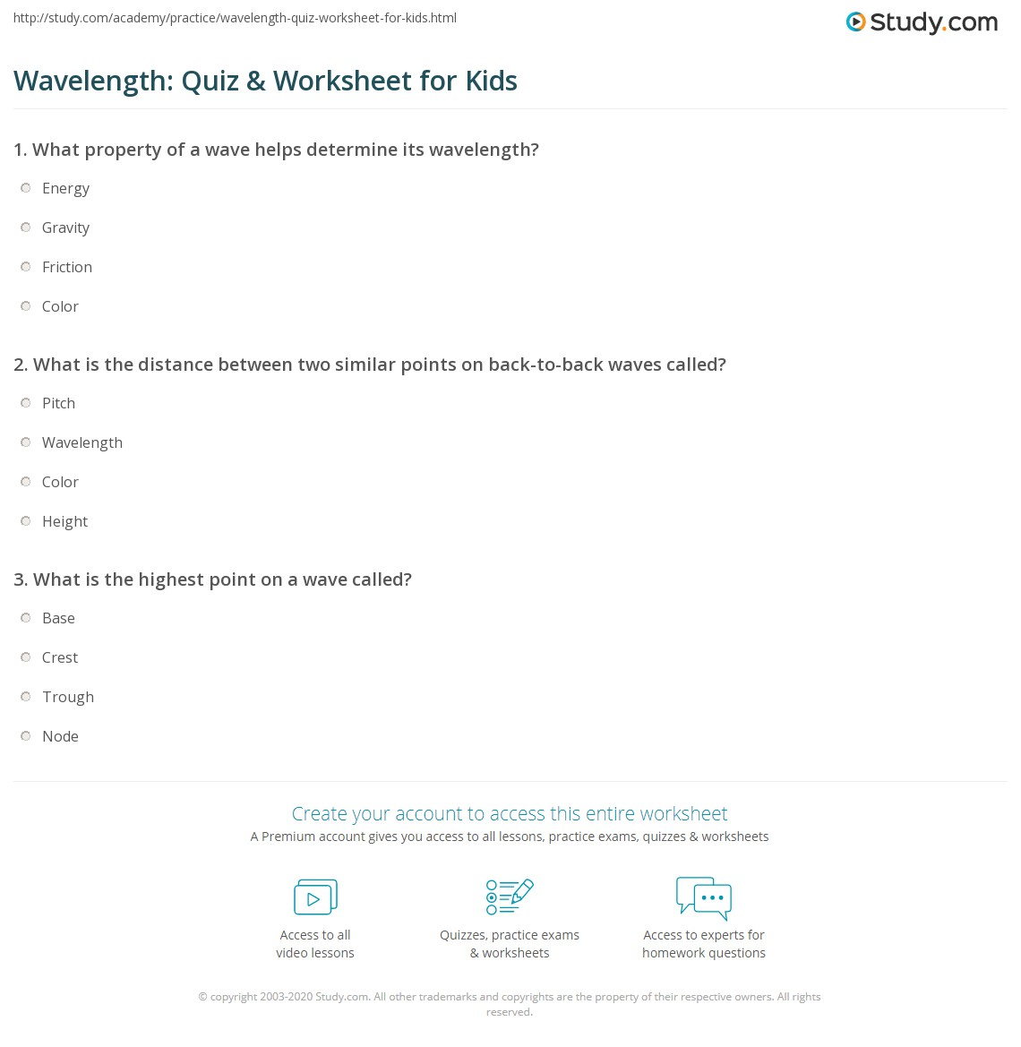 worksheet Wavelength Worksheet wavelength quiz worksheet for kids study com print definition lesson worksheet