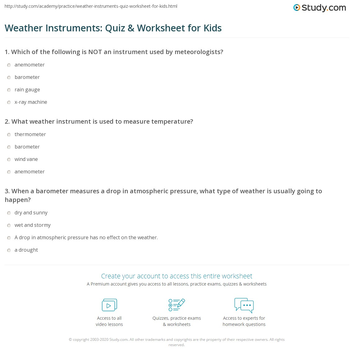 Weather Instruments Quiz Worksheet For Kids Study