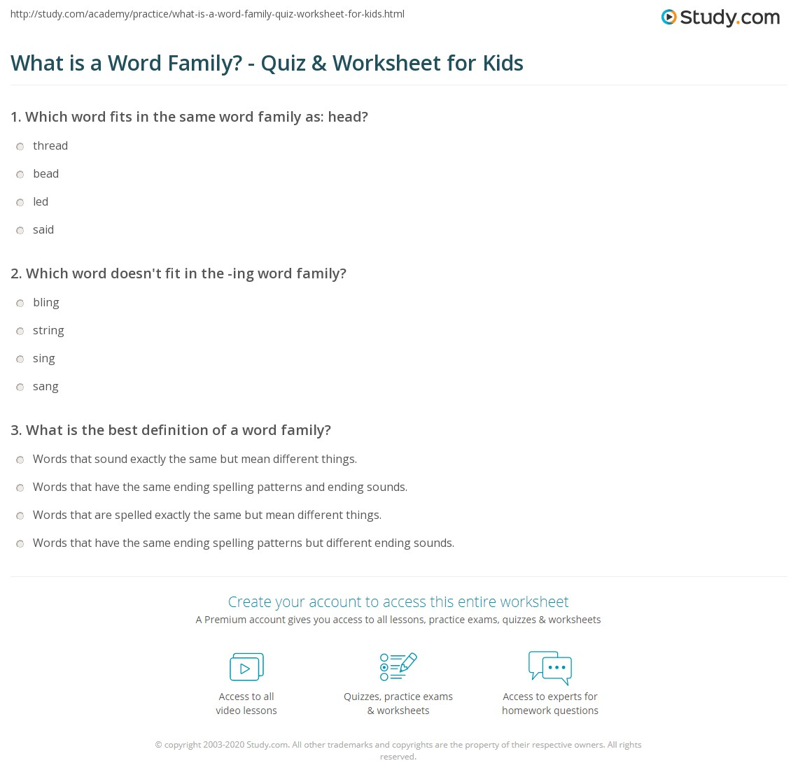 What is a Word Family Quiz & Worksheet for Kids