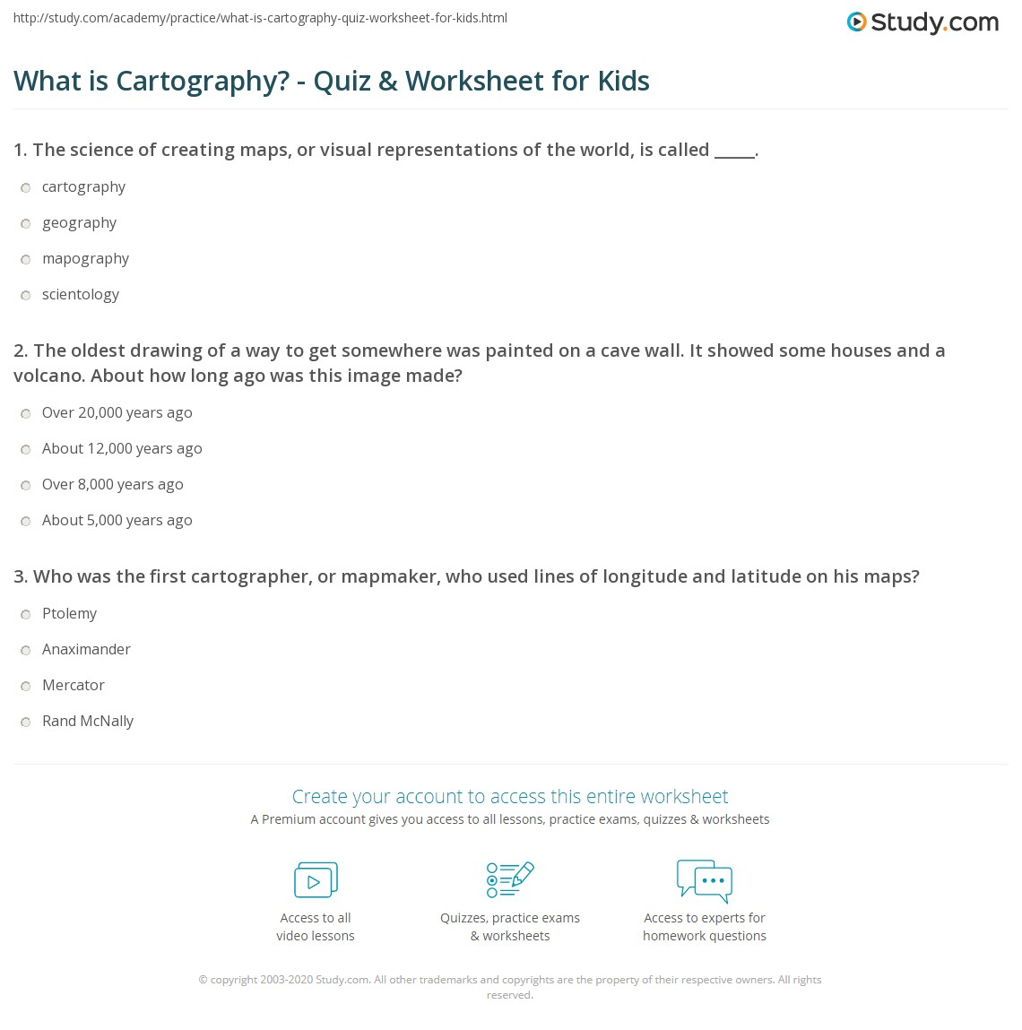 What is Cartography? - Quiz & Worksheet for Kids | Study com