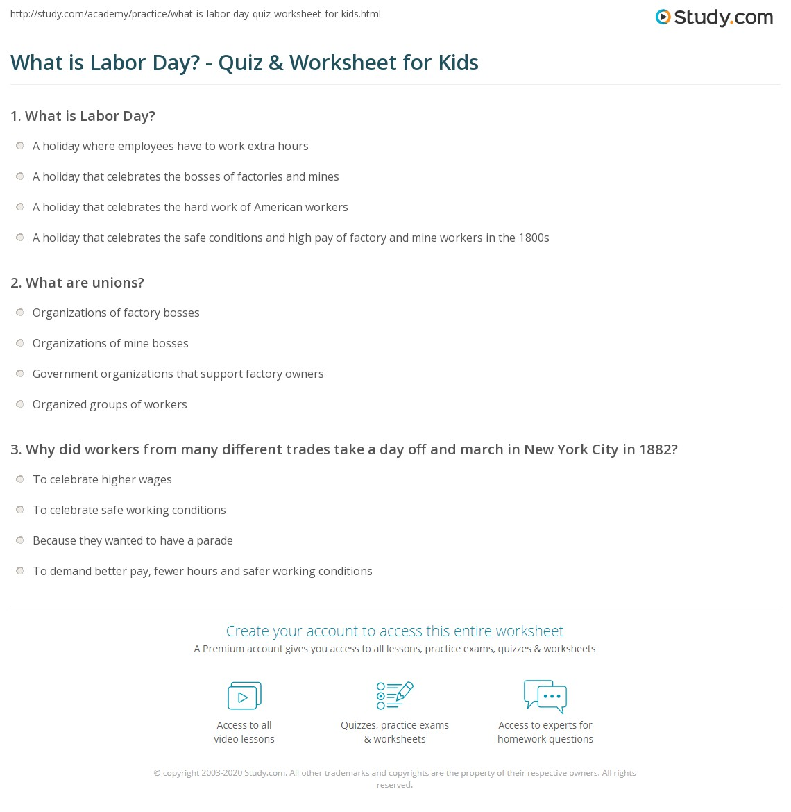 Worksheets Labor Day Worksheets what is labor day quiz worksheet for kids study com print lesson meaning history worksheet