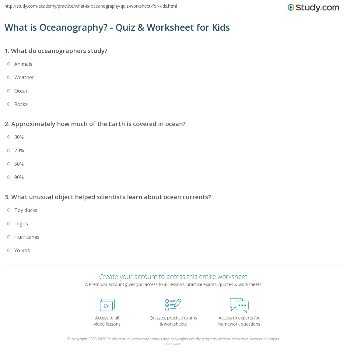 What Is Oceanography Quiz Worksheet For Kids Study Com