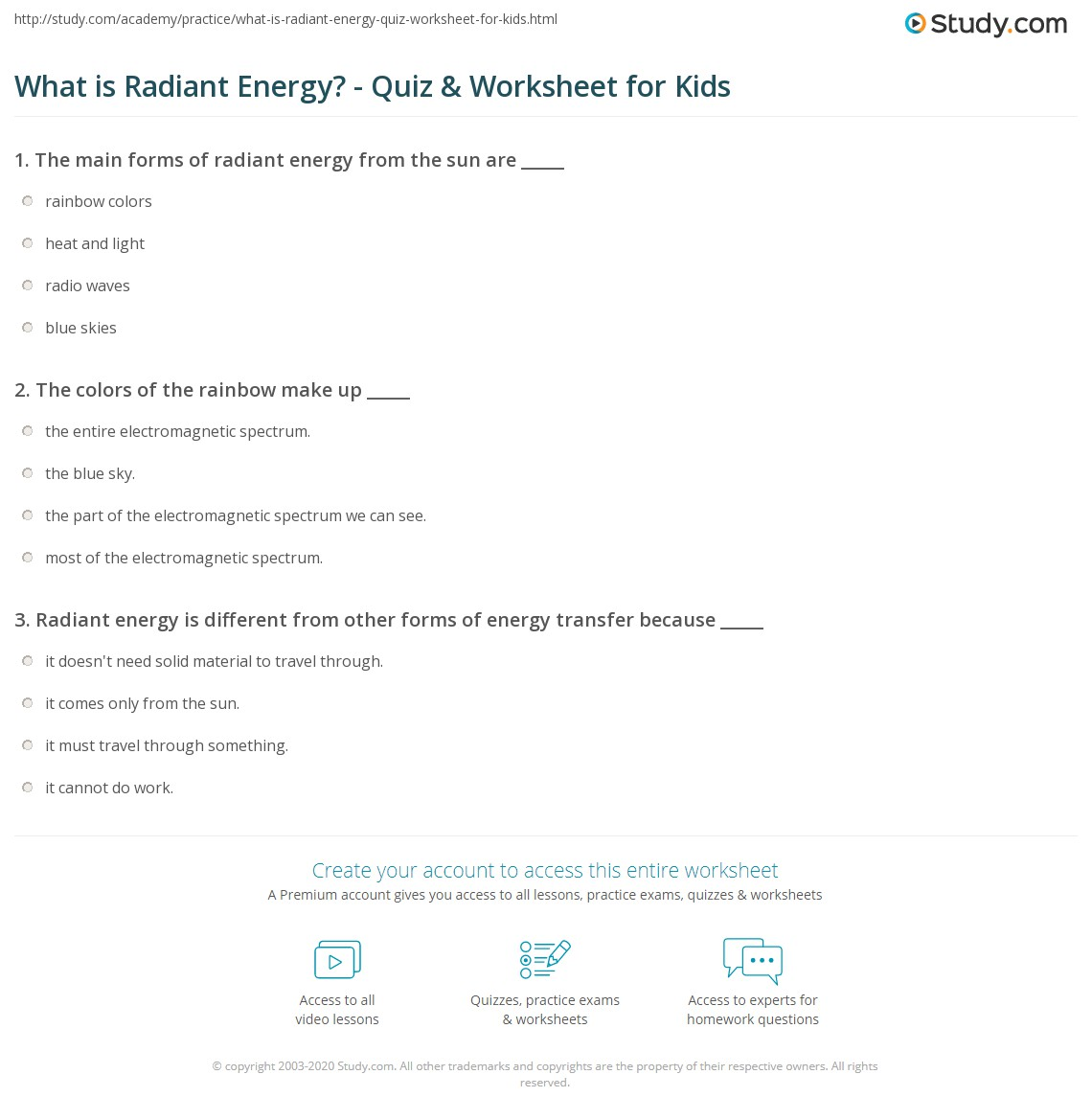 What is Radiant Energy? - Quiz & Worksheet for Kids | Study.com