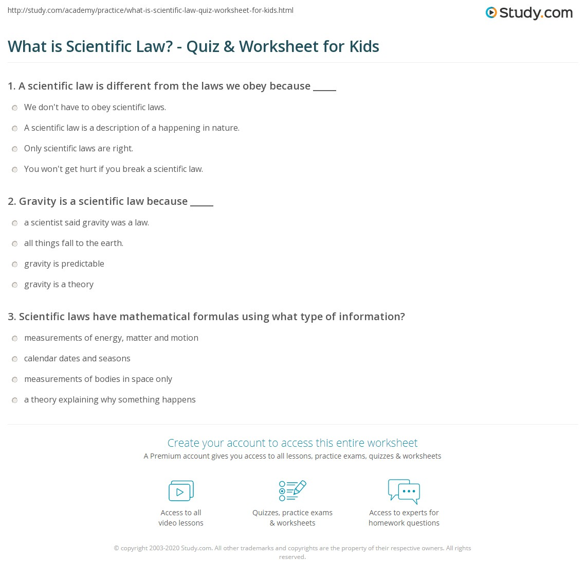 What Is Scientific Law Quiz Worksheet For Kids Study