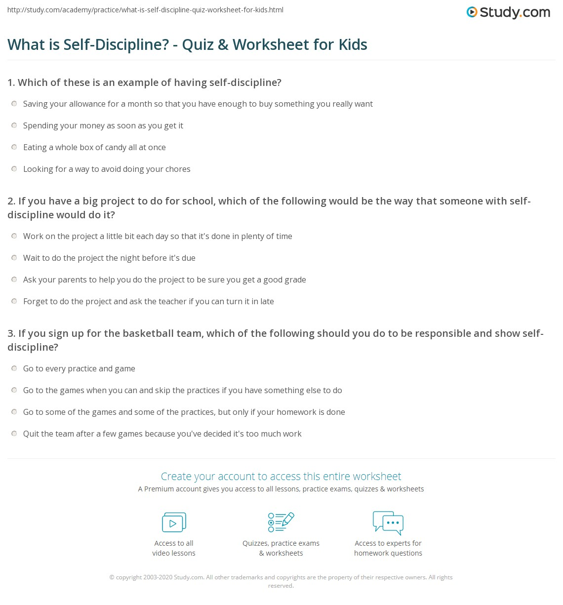 what is self discipline quiz worksheet for kids. Black Bedroom Furniture Sets. Home Design Ideas