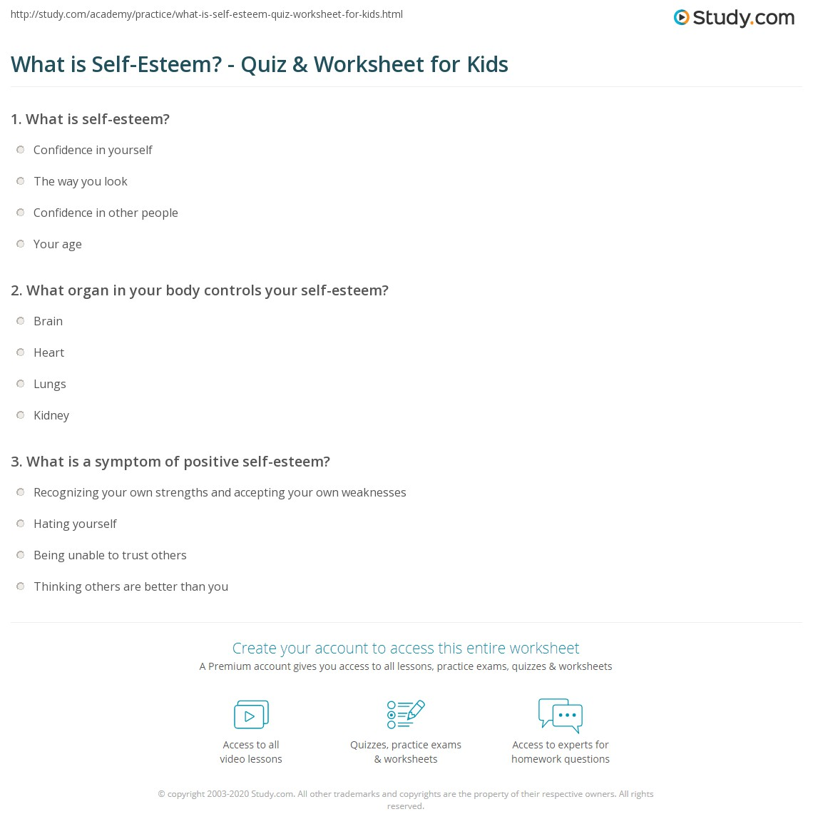 photo regarding Self Esteem Quiz Printable known as What is Self-Esteem? - Quiz Worksheet for Youngsters