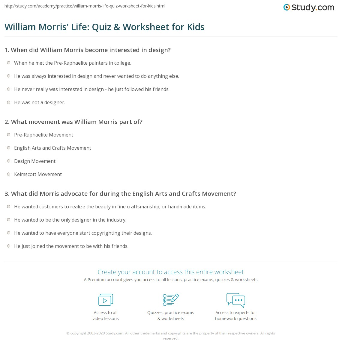 worksheet What Darwin Never Knew Video Worksheet Answers william morris life quiz worksheet for kids study com print lesson facts biography worksheet