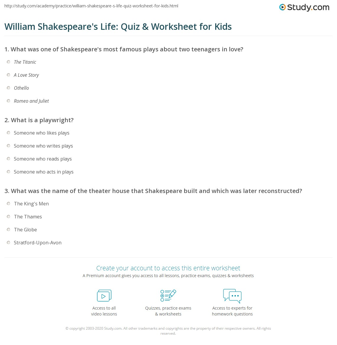 William Shakespeare S Life Quiz Worksheet For Kids Study Com